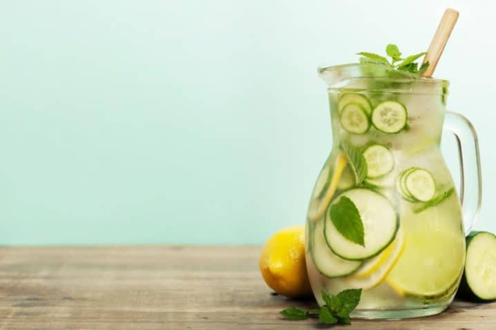 Infused Water With Cucumber Lemon Lime And Mint